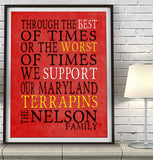 "Maryland Terrapins Personalized ""Best of Times"" Art Print Poster Gift"