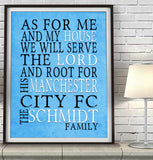 "Manchester City FC football club  Personalized ""As for Me"" Art Print"