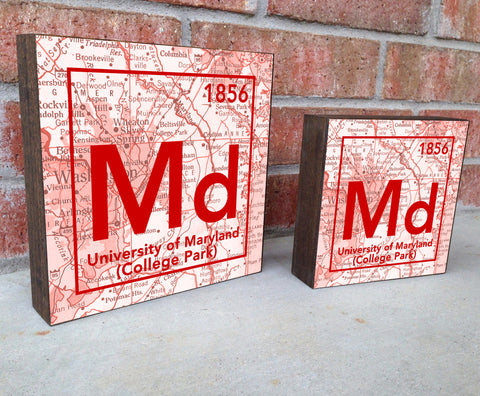 Maryland Terrapins- Periodic Map art print on Wooden Block