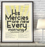 His mercies are new- Lamentations 3:23 -Vintage Bible Highlighted Verse Scripture Page- Christian Wall ART PRINT