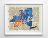 New York Mets baseball inspired Art Print on old Dictionary Pages, Unframed