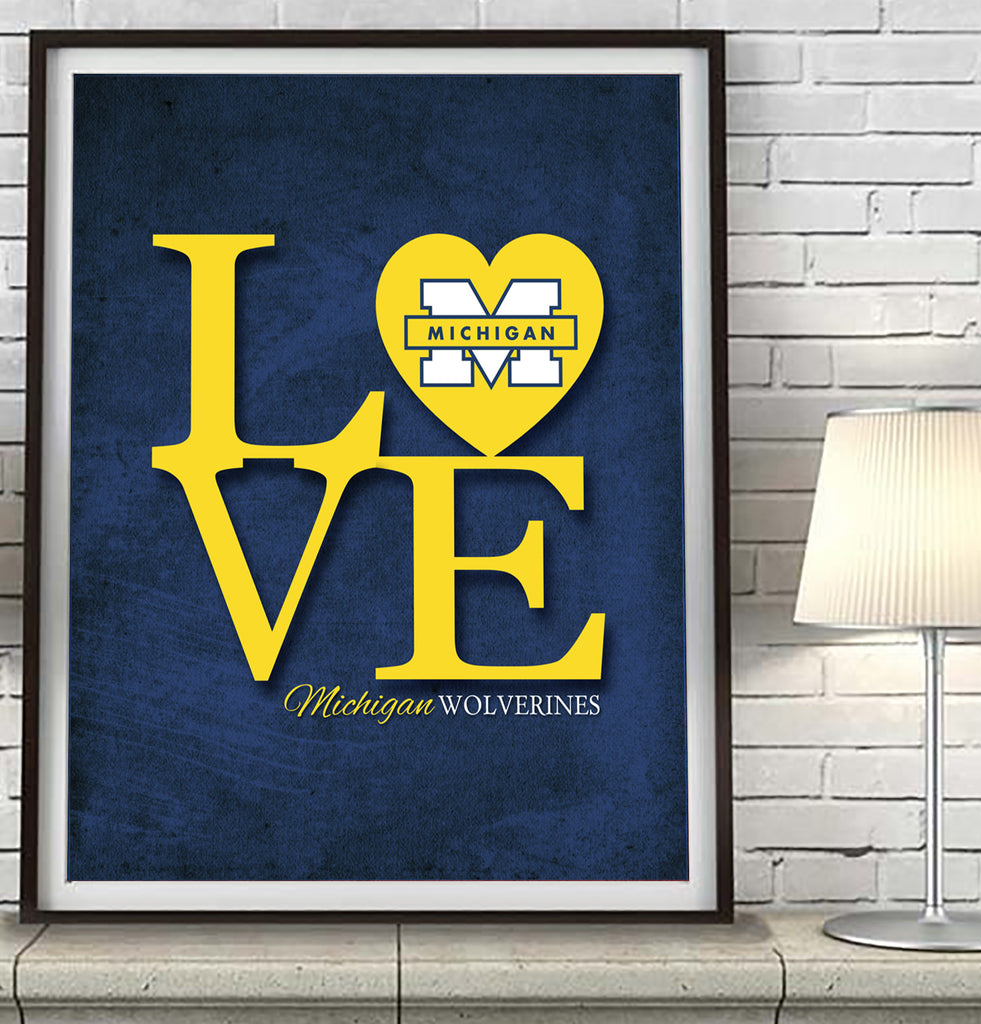 "Michigan Wolverines ""Love"" Art Print Poster Gift"