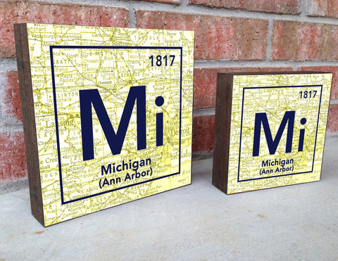 Michigan Wolverines- Periodic Map art print on Wooden Block