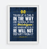 "Michigan Wolverines ""Train Up A Child"" Art Print Poster Gift"