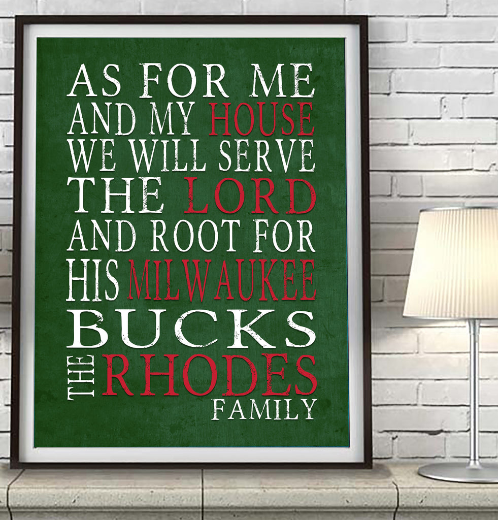 "Milwaukee Bucks basketball  Personalized ""As for Me"" Art Print"