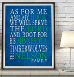 "Minnesota Timberwolves Personalized ""As for Me"" Art Print"