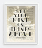 Set your mind on things above - Colossians 3:2 - Vintage Bible Highlighted Verse Scripture Page- Christian Wall ART PRINT