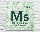 Michigan State Spartans- Periodic Map art print on Wooden Block