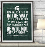 "Michigan State Spartans ""Train Up A Child"" Art Print Poster Gift"
