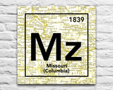 Mizzou Tigers- University of Missouri Columbia- Vintage Periodic Map ART PRINT