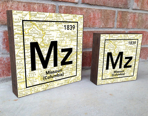 Missouri Tigers- Periodic Map art print on Wooden Block
