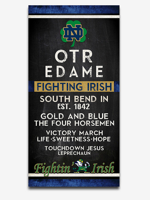"Notre Dame Fighting Irish ""Eye Chart"" ART PRINT"
