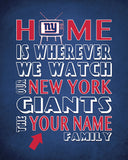 "New York Giants football Inspired Personalized & Customized ART PRINT- ""Home Is"" Parody Retro Unframed Print"