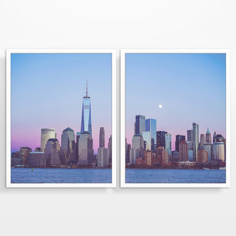 New York City Downtown Skyline at Sunset Photography Prints, Set of 2, NYC Wall Decor