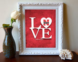 "Nebraska Cornhuskers ""Love"" ART PRINT, Sports Wall Decor, man cave gift for him, Unframed"