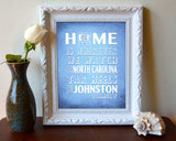 "North Carolina Tar Heels inspired Personalized Customized Art Print- ""Home Is"" Parody- Retro, Vintage-  Unframed Print"