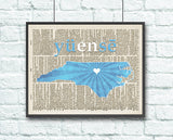 North Carolina Tar Heels UNC Phonics/Phonetic Art Print - Christmas poster gift