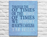 "North Carolina Tar Heels personalized ""Best of Times"" Art Print Poster Gift"