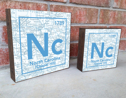 North Carolina Tar Heels- Periodic Map art print on Wooden Block