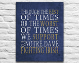 "Notre Dame Fighting Irish personalized & customized Art Print- ""Best of Times"" Parody- Charles Dickens-  Unframed"
