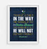 "Notre Dame Fighting Irish UND inspired ""Train Up A Child"" ART PRINT, Sports Wall Decor, kids room/baby room gift, Unframed"