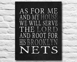 "Brooklyn Nets Personalized ""As for Me"" Art Print"