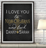 "New Orleans Saints ""I Love You to New Orleans and Back"" Art Print Poster Gift"
