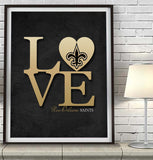 "New Orleans Saints football ""Love"" Art Print Poster Gift"
