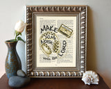 Make a joyful noise- Psalms 100:1 -Vintage Bible Highlighted Verse Scripture Page- Christian Wall ART PRINT