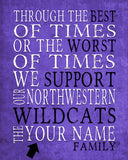 "Northwestern Wildcats Personalized ""Best of Times"" Art Print Poster Gift"