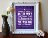 "Northwestern Wildcats inspired ""Train Up A Child"" ART PRINT, Sports Wall Decor, kids room/baby room gift, Unframed"