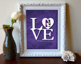 "Northwestern Wildcats inspired ""Love"" ART PRINT, Sports Wall Decor, man cave gift for him, Unframed"
