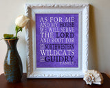 "Northwestern Wildcats inspired Customized/Personalized Art Print- ""As for Me"" Parody- Unframed Print"