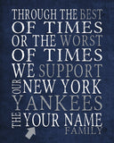 "New York Yankees Baseball Personalized ""Best of Times"" Art Print Poster Gift"