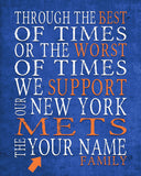 "New York Mets Personalized Customized Art Print- ""Best of Times"" Parody- Charles Dickens-  Unframed Print"