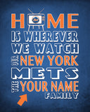 "New York Mets Personalized ""Home is"" Art Print Poster Gift"