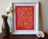 "New York Red Bulls Soccer personalized ""As for Me"" Art Print"