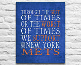 "New York Mets Personalized ""Best of Times"" Art Print Poster Gift"