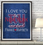 "New York Giants ""I Love You to New York and Back"" Art Print Poster Gift"