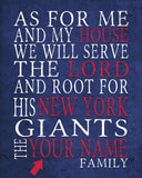 "New York Giants personalized ""As for Me"" Art Print"