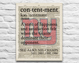 "New York Giants dictionary page ""Contentment"" Art Print - Christmas poster gift"