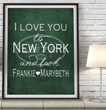 New York Jets-I Love You to New York and Back -Art Print Poster Gift
