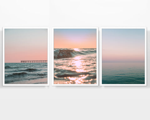 Sunset Beach Themed Photography Prints, Set of 3, Coastal Wall Decor