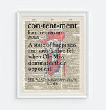 "Ole Miss Rebels inspired ""Contentment"" ART PRINT Using Old Dictionary Pages, Unframed"