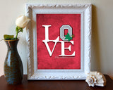 "Ohio State Buckeyes inspired ""Love"" ART PRINT, Sports Wall Decor, man cave gift for him, Unframed"