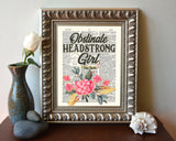 Obstinate Headstrong Girl - Jane Austen Quote - Dictionary Art Print