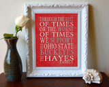 "Ohio State Buckeyes personalized & customized Art Print- ""Best of Times"" Parody- Charles Dickens-  Unframed"