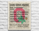 "Ohio State Buckeyes inspired ""Contentment"" ART PRINT Using Old Dictionary Pages, Unframed"