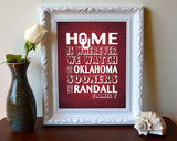 "Oklahoma Sooners inspired Personalized Customized Art Print- ""Home Is"" Parody- Retro, Vintage-  Unframed Print"