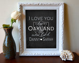"Oakland Raiders inspired & personalized ""I Love You to Oakland and Back""parody ART PRINT - Unframed"